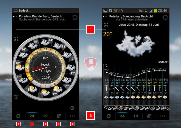 eWeather HD - Startbildschirm nach Installation mit Erklärung / Legende