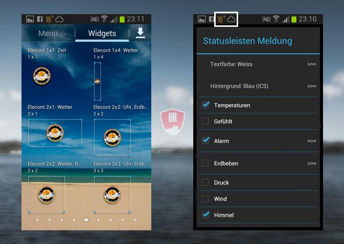 eWeather HD - Widgets und Statusleiste