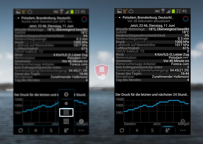 Luftdruck mit Vorschau / Rückschau in der eWeather HD Wetter App für Angler