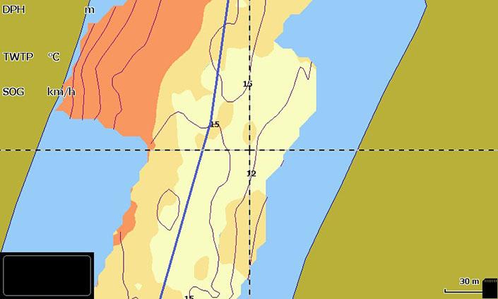 Insight Genesis Gewässerkarte auf dem Echolot