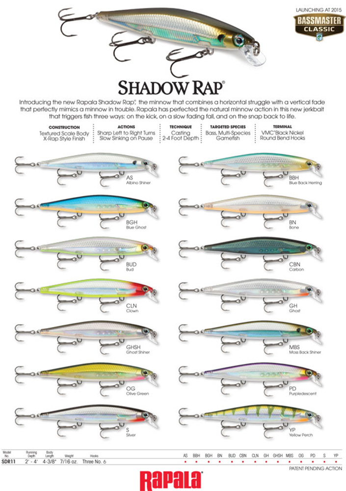 Rapala Shadow Rap Farben