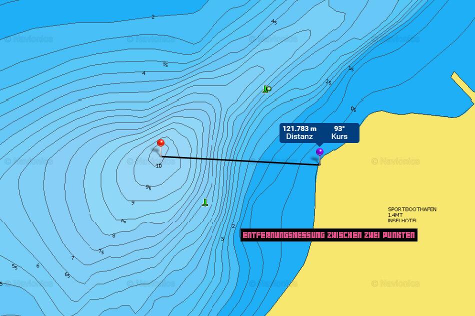Navionics WebApp - Entfernung zwischen zwei Punkten auf der Gewässerkarte messen