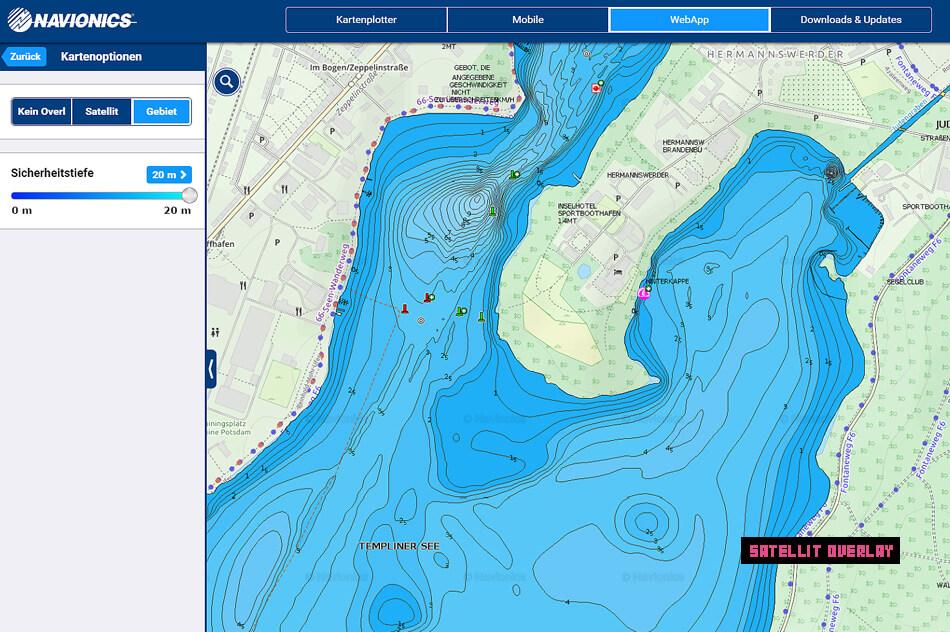 Kartenlayer in der WebApp von Navionics - Gebiet