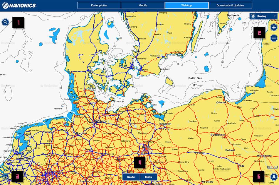 Startbildschirm der Navionics WebApp und die wichtigsten Navigationselemente