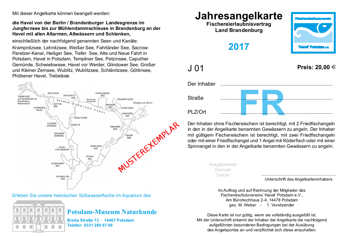 Die Jahres-Angelkarte der Havelkarte 2017