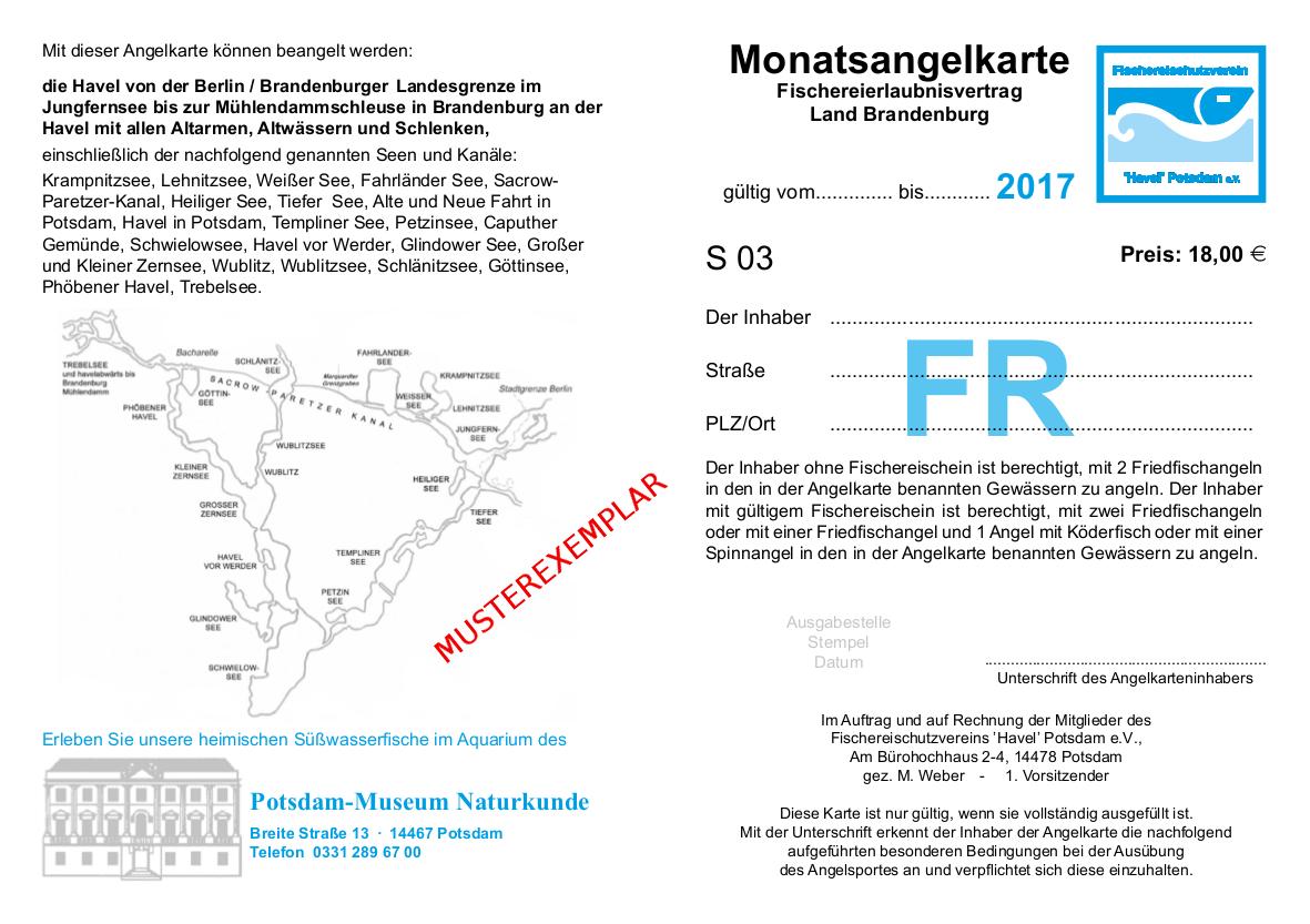 Die Monats-Angelkarte der Havelkarte 2017