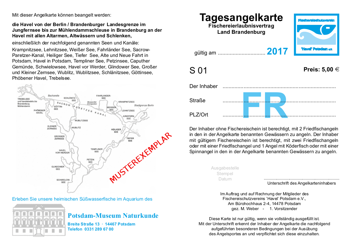 Die Tages-Angelkarte der Havelkarte 2017
