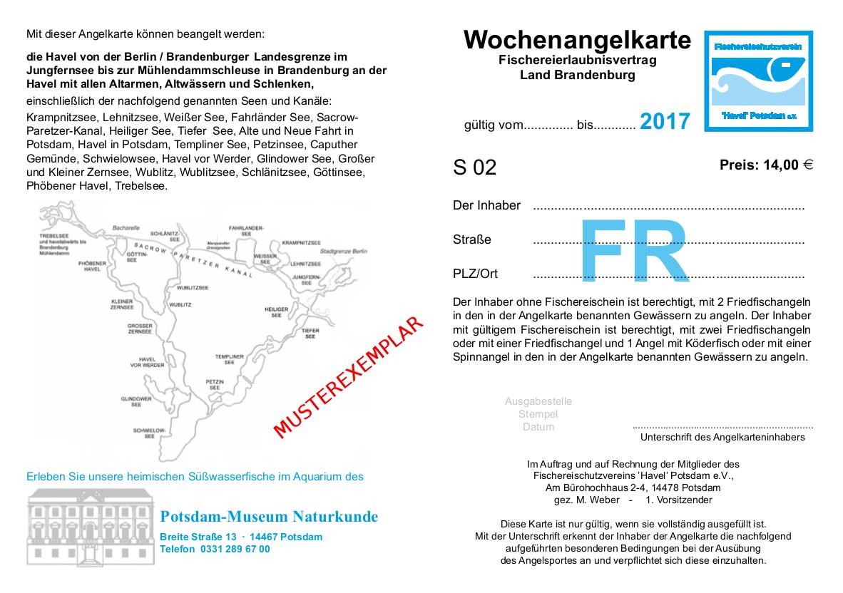 Die Wochen-Angelkarte der Havelkarte 2017