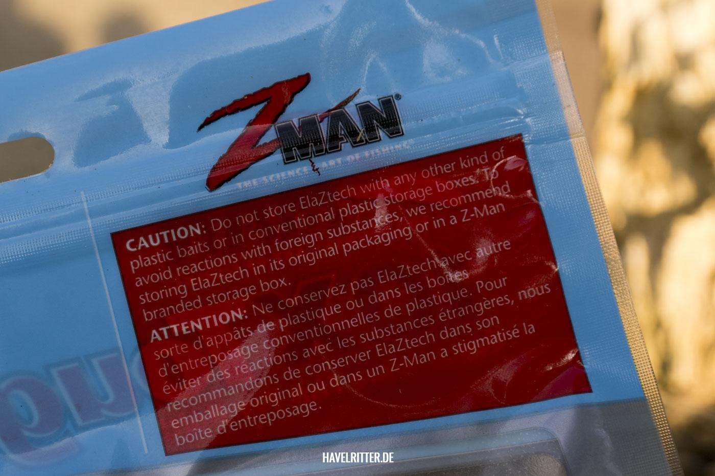Z-Man Gummiköder aus ElaZtech - Sicherheitshinweis zur richtigen Lagerung