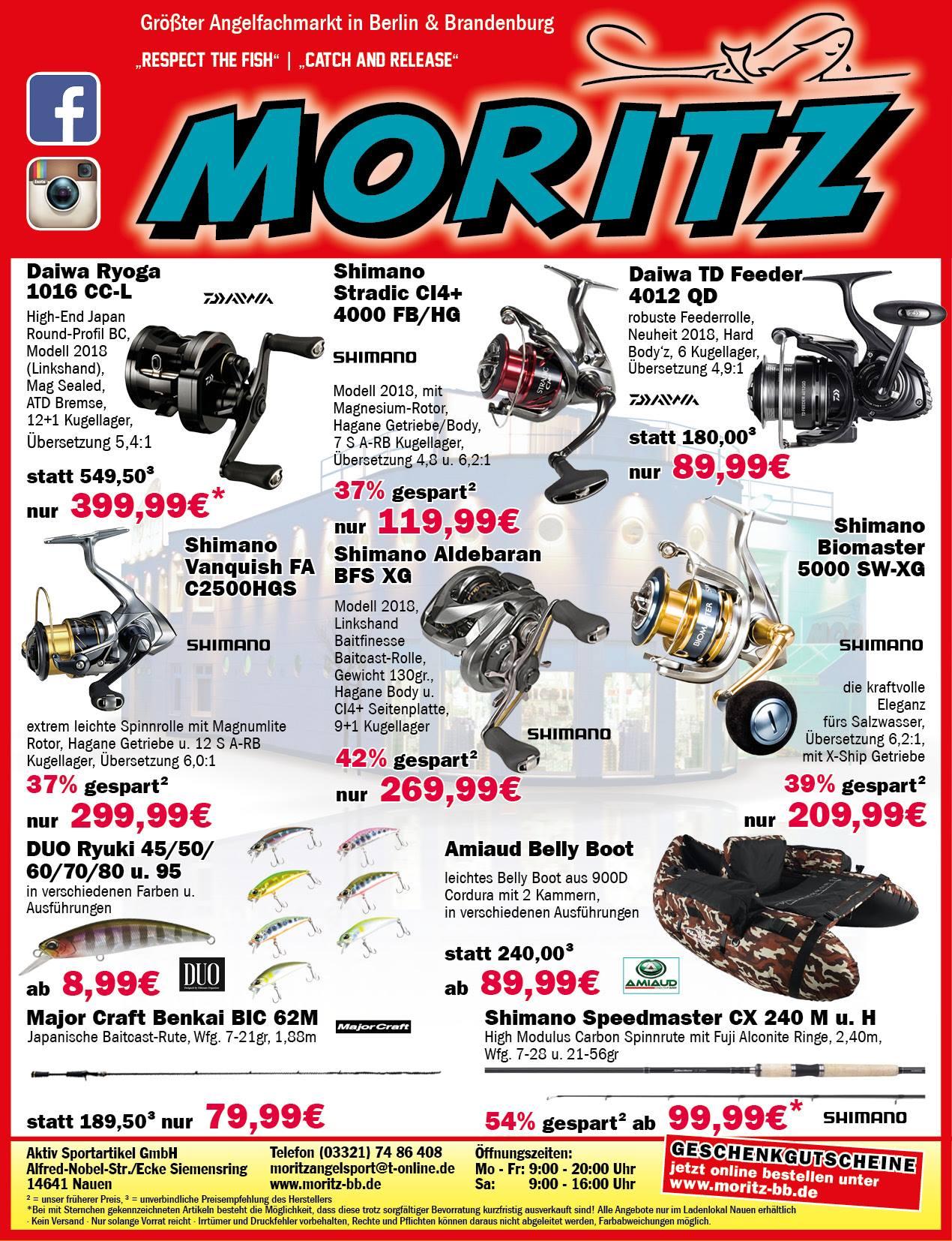 Angelsport Moritz - Sonderangebote 06/2018