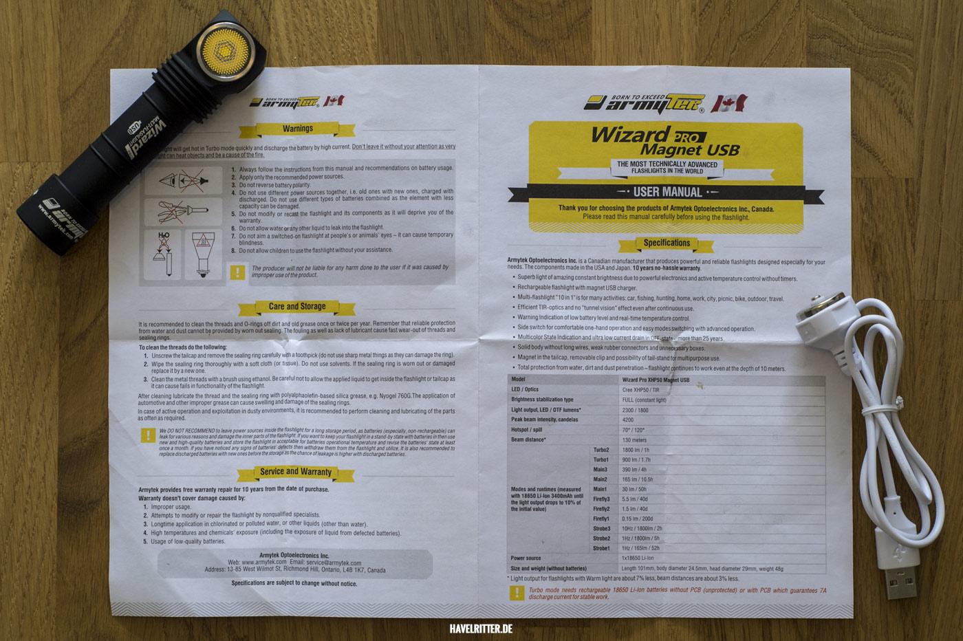 Armytek Wizard Pro Magnet USB - Bedienungsanleitung Seite 1