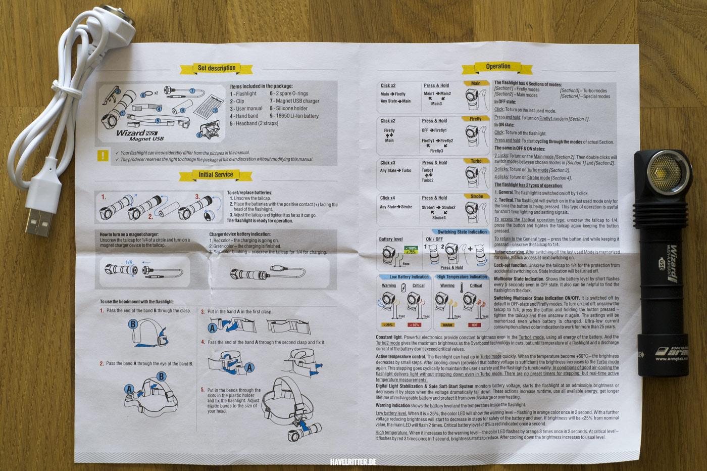 Armytek Wizard Pro Magnet USB - Bedienungsanleitung Seite 2