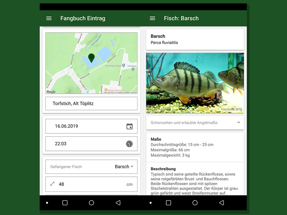 Angel App Fischroute: Fangbuch mit Einträgen plus Lexikon